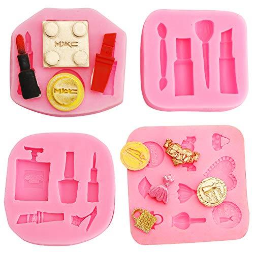 FANDE Silikon Fondant Mold, 4 Stück 3D Silikonform Kuchen Dekoration Backen Werkzeuge DIY Kuchen Bonbon Gelee Backformen für DIY Zucker Basteln Süßigkeiten Schokolade Eiswürfelform