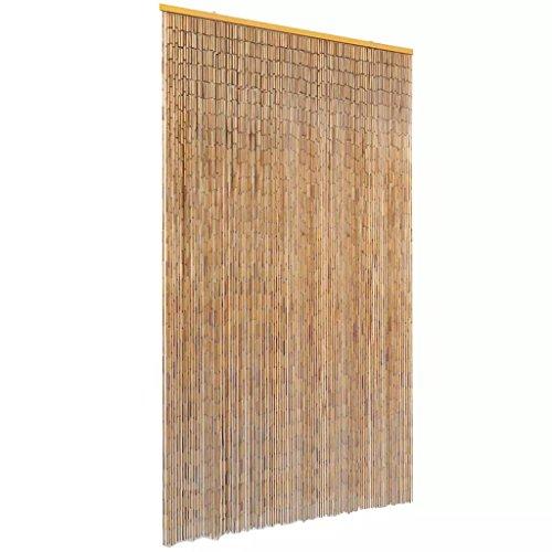 UnfadeMemory Türvorhang Fliegenvorhang Bambus Fliegengitter Tür Insektenschutz mit Holzleiste an der Oberseite für Balkontür Wohnzimmer (120 x 220 cm)