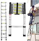 Extendable Alminium Ladders Telescopic 8.5Ft 2.6M Folding Extending Portable Aluminum Telescopic Extension Tall Multi Purpose Loft Ladder 330 pound/150 kg Capacity UK Stock (8.5Ft 2.6M)
