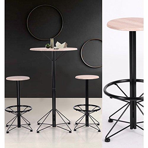 Yata Home Industrial Mesa alta redondaJuego de taburetes de bar para el hogar Yata con 1 mesa redonda y 2 taburetes para reposapiés, paneles de madera y metal