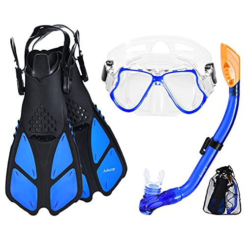 Adicop Kids Mask Fin Snorkel Set for 3-7 Years Old Boys and Girls with Panoramic Snorkel Mask Diving Goggles Dry Top Snorkel and Adjustable Fins for Snorkeling Swimming Freediving
