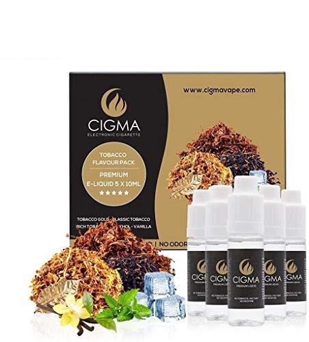 CIGMA 5 X 10ml E Liquid,0mg (Ohne Nikotin) Klassik Tabak, Gold Tabak, Rich-Tabak, Menthol, Vanille starken Geschmack mit hochwertigen Zutaten, Für elektronische Zigaretten und E Shisha hergestellt.