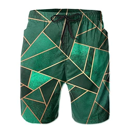 Yesliy Emeraldandcopperlines - Pantalones cortos para hombre, estilo informal, para playa, secado rápido, para el hogar