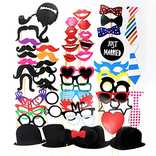 58 Piece DIY Photo Booth Props,Funny Prop kit Selfie Graduation Photography Decorations Supplies Mask for Wedding Reunions Halloween and Family Party (Includes Wooden Sticks and Round Adhesive Tape)