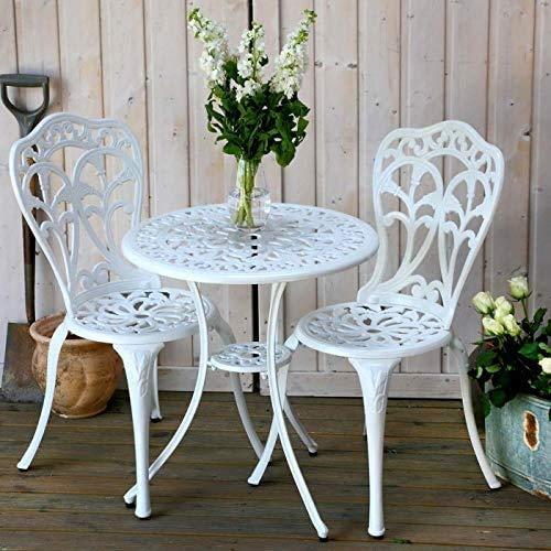 Arena mesa redonda juego de muebles de jardín de aluminio fundido,White