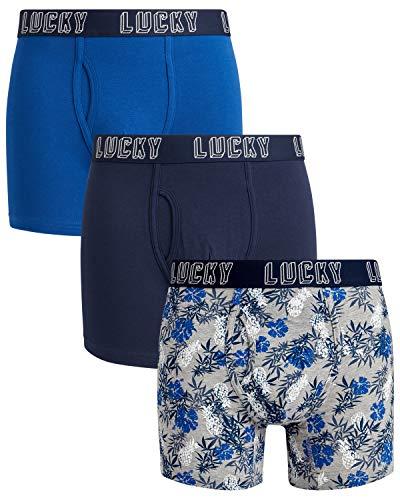 Lucky Brand Mens Cotton Stretch Boxer Briefs Underwear (3 Pack)