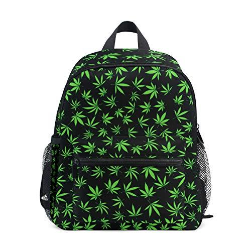 QMIN Kids Backpack Marijuana Hemp Leaves Pattern, Small Toddler Preschool Shoulder Bag Travel Elementary Kindergarten School Bags for Girls Boys Children