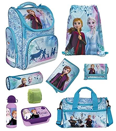 Familando Frozen Mädchen Schulranzen-Set 9-TLG. Modell CLOU Ranzen 1. Klasse | Schul-Tasche Disney Die Eiskönigin ELSA und Anna mit Sporttasche und Regenschutz | Türkis | für Mädchen