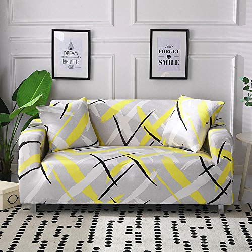 Funda Sofa 1 Plaza Amarillo Grisáceo Fundas para Sofa con Diseño Elegante Universal,Cubre Sofa Ajustables,Fundas Sofa Elasticas,Funda de Sofa Chaise Longue,Protector Cubierta para Sofá