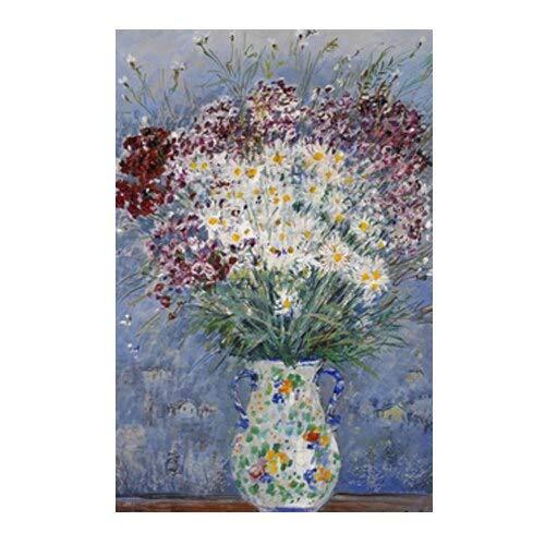 Geiqianjiumai Bunter Blumenstrauß Poster und Drucke in Vase hell modern floral Wandkunst Rahmenlos bemalt 60x90cm