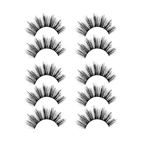 False Eyelashes 6D Flexible False Lashes Reusable Handmade Cross Mink Fake Eye Lashes for Makeup 5 Pairs Natural Looking Black Eyelashes Cruelty Free