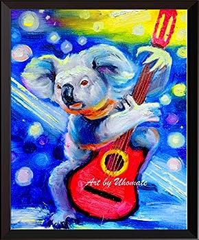 Uhomate Watercolor Koala Bear Decor Colorful Koala Playig Guita Wall Art Starry Night Painting Cute Animal Canvas Art Print Poster Baby Gift Nursery Decor Wall Decor A159  11X14