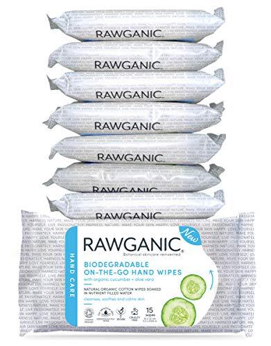 RAWGANIC Lingettes Nettoyantes Mains Bio Aloe Vera | Coton Bio Biodégradable | Sans Alcool Sans Parfum | Paquet de 15 Lingettes (Lot de 8 paquets soit 120 lingettes)