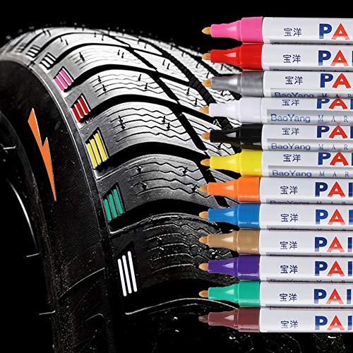 Qbisolo 12 Stücke Reifenfarbe Marker Pens, wasserdichte Permanent Pen Reifenstift Marker Stift für Auto Motorrad Reifenprofil Fahrradreifen (Alles)