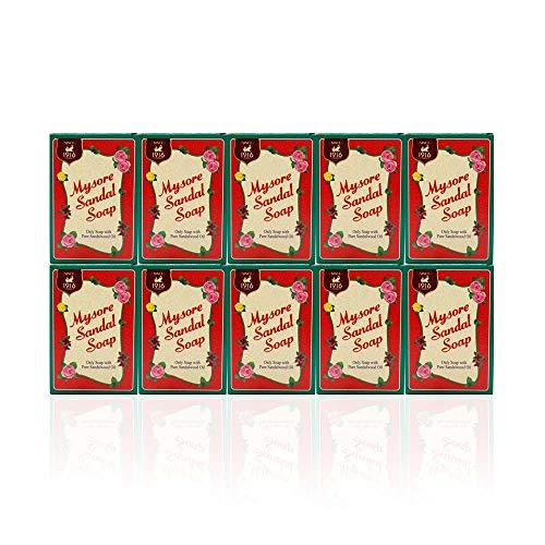 Mysore Sandal Soaps Pack of 10 (75 gr. Bars) by Mysore Sandal Soap