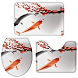 Moily Fayshow Badezimmerteppich-Set 3-teiliges Koi-Fischtinten-Gemälde rutschfeste Badezimmermatte im chinesischen Stil - kleine Größe 60X90Cm