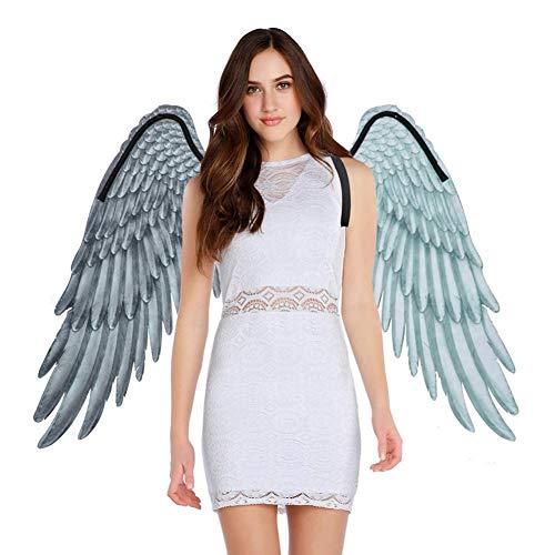 Forart Disfraz de alas de ángel 3D Fiesta de alas de ángel Alas de ángel en blanco y negro para adultos Disfraz de Halloween