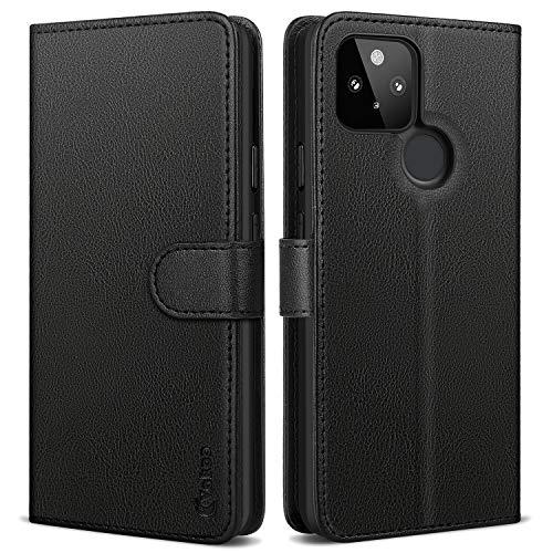 Vakoo Wallet Serie Handyhülle für Google Pixel 5 Hülle, mit RFID Schutz, Schwarz