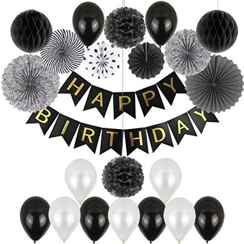 Decoración De Papel Partido 1 Juego De 34 Uds, Globo De Látex De Feliz Cumpleaños, Decoración De Fiesta De Papel, Conjunto Mixto, Guirnalda De Letras, Abanico De Papel Tisú, Flor De Panal