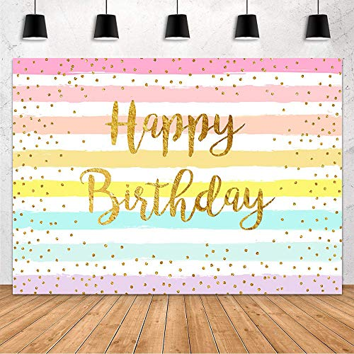 MEHOFOND Rainbow Stripes Happy Birthday Backdrop Party Decoration for Childs Adults Colorful Golden Dot Birthday Photography Background Supplies Banner of Cake Table Studio Photo Props Vinyl 7x5ft