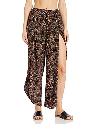Seafolly Damen Printed Wide Leg Pull On Pant with Front Slits Bademodeüberzug, Safari Spot Schwarz, Large