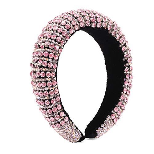 VIccoo Cerceau de Cheveux, Bijoux baroques Cerceau de Cheveux coloré Strass perlé Rayures Bandeau rembourré - Rose
