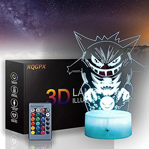 Gengar Gengar Gastly Haunter Luz de noche, 16 colores cambiantes modo táctil y control remoto, lámpara LED de mesa de noche para niños y GILR