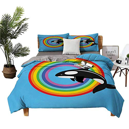 Four-Piece Bedding Hotel Bed Sheets Queen Set Flat Sheet Modern Design with a Killer Whale Jumping into a Circle Made from Rainbow Print Multi Colored Blue Bed Sheet W80 xL90