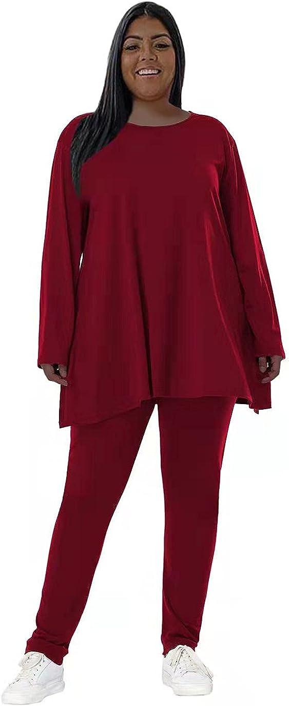 Plus Size 2 Piece Outfits for Women Sweatsuit Long Sleeve Bodycon Pants Tracksuit Loungwear Set