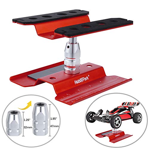 RC Car Work Stand Repair Workstation Aluminum Alloy Hobby Tools for 1/10 1/12 1/16 1/18 Truck Buggy On Road Touring Drift (Red)