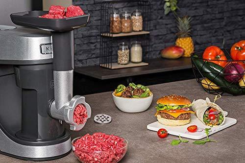Krups Premium Küchenmaschine 17 teilig, 4,6L Edelstahlschüssel, Silikonschüssel, 4 Rührwerkzeuge Edelstahl, spülmaschinenfest, 1100W, Schnitzelwerk, Fleischwolf, Gratis Rezepte und 12er Cupcake Form - 8