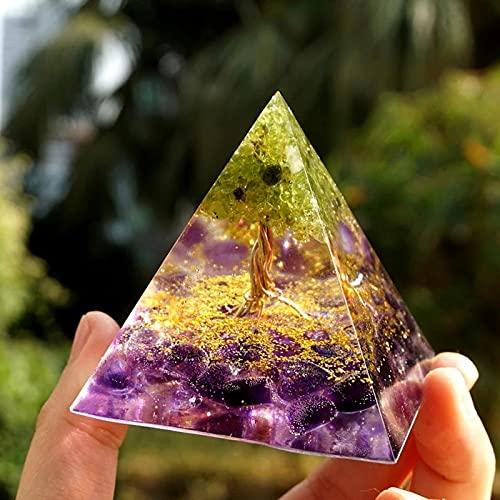 VELIHOME Orgonite Árvore da Vida Peridoto Pirâmide de Cura Cristais para Proteção Meditação Yoga Pirâmide de Cristal Gerador de Energia de Cura Emocional