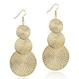 14K Gold Round Disc Triple Earrings Dangle Drop Filigree Carved Earring for Women Girls