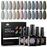 Lot de 12 vernis à ongles en gel, 12 couleurs, couleur nude, kit de vernis à ongles gel UV/LED pour nail art, salon de manucure, cadeau pour femme, 8 ml - 0.28FL.OZ