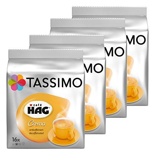 Tassimo Café HAG Crema Entkoffeiniert, Kaffeekapsel, Koffeinfreier Kaffee, Röstkaffee, 64 T-Discs