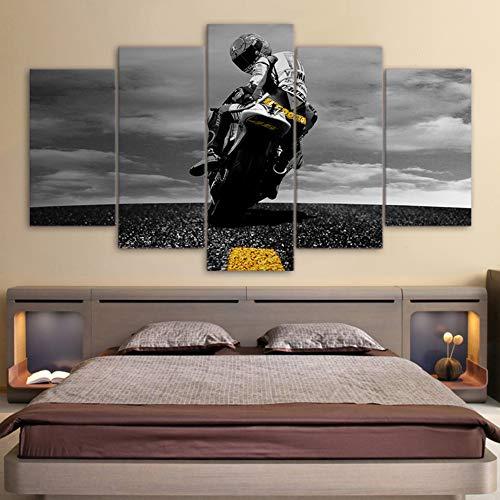 FJNS Cuadros en Lienzo Arte de Pared 5 Paneles Valentino Rossi Moto Sports para el hogar Sala de Estar decoración Impresiones póster,B,40x60x2 40x80x2 40x100x1