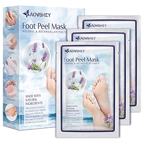 AOVSHEY Peeling Fußmaske 3 Paare, Lavendel Fußpeeling-maske Socken zur Entfernung von Hornhaut, Große Fußpflege Socken für Männer und Frauen, Stellen Sie Samtweiche und Zarte Füße