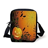 FAFANIQ Spider Web,Halloween Themed Composition with Pumpkin Leaves Trees Web and Bats Decorative,Orange Dark Green Black Print Kids Crossbody Messenger Bag Purse