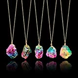 Natural Rainbow Stone Healing Irregular Crystal Rock Pendant, Necklace Birthstone Gold Plated Full Wire Wrap Gemstone Necklace Jewelry for Women Girls, Random Stone