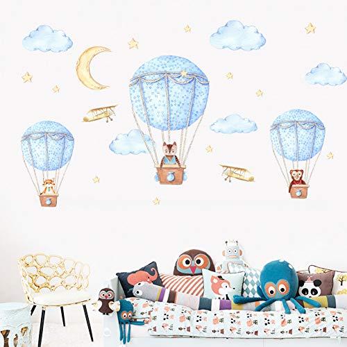 Adhesivos De Pared De Globo De Aire Caliente Azul De Animales Grandes Para Habitación De Niños Dormitorio Kindergarten Diversión Regalos De Infancia Mural Decoración Para El Hogar