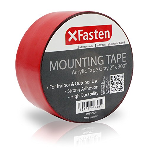 XFasten Extreme Double-Sided Acrylic Mounting Tape Removable, Gray, 2-inch x 300-Inch, Waterproof Indoor and Exterior Double Sides Brick Mounting Tape