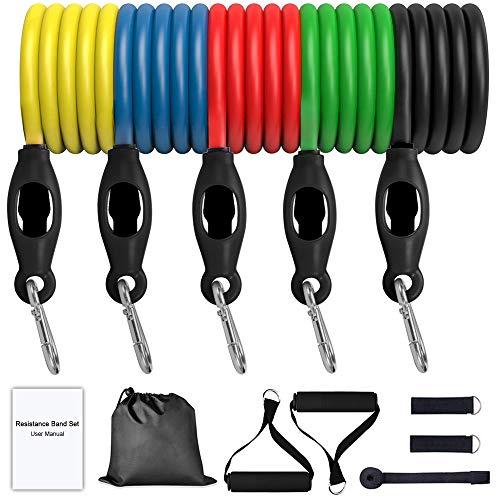 wesho Juego de bandas de resistencia (11 unidades) con 5 tubos de fitness, anclaje de puerta, asas y bolsa de transporte