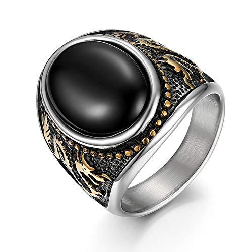 JewelryWe Schmuck Retro Herren Ring Edelstahl schwarz Achat Drachen Totem Bandring Band Gold Silber mit kostenlos Gravur, Größe 54