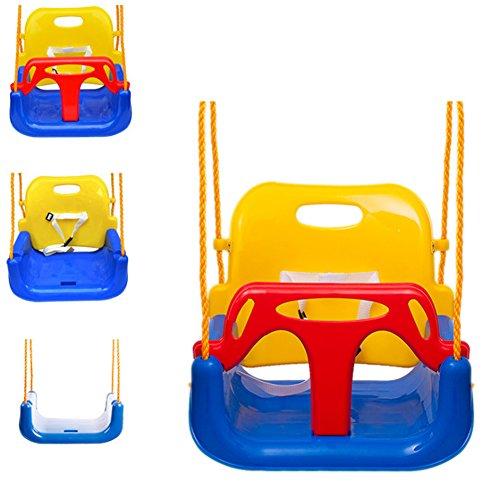 EXTSUD Altalena Colorata 3 in 1 Seggiolino Bambini in Plastica Max Portata 80KG Sedile Regolabile per Altalena Giocattolo da Giardino per Bambini Blu