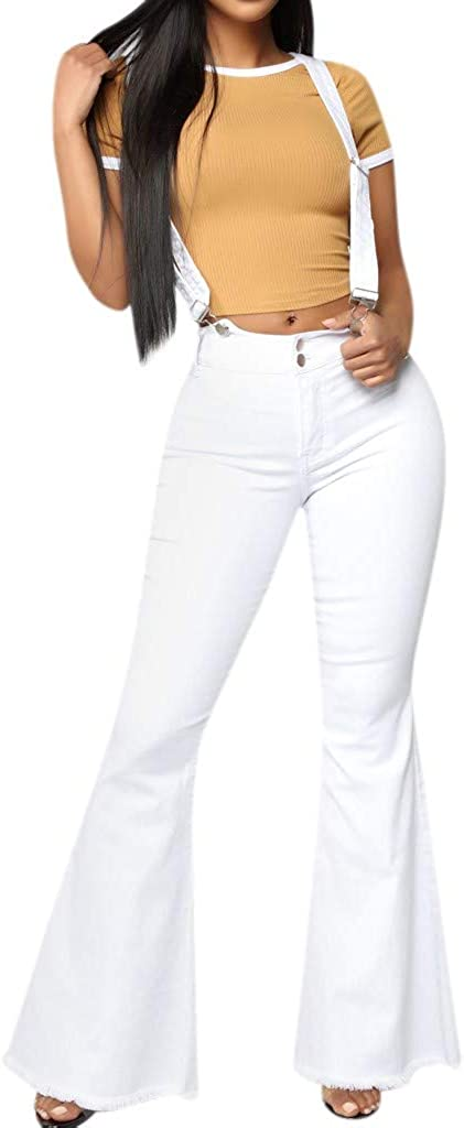Forthery High Waisted Skinny Denim Jeans Women Stretch Slim Pants Calf Jeans Striped Wide Bell Bottom Jumpsuit