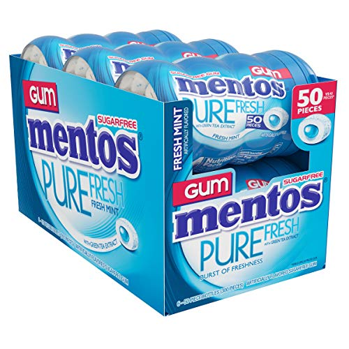 Mentos Pure Fresh Sugar-Free Chewing Gum with Xylitol, Fresh Mint, 50 Piece Bottle (Bulk Pack of 6)