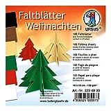 Faltblätter Weihnachten, 100 Blatt Tonzeichenpapier 130 g/qm, 10 x 10 cm