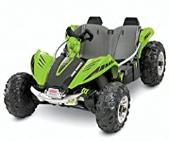 Monster Traction system drives on hard surfaces, wet grass, and rough terrain Drives 2.5 and 5 mph forward and 2.5 mph in reverse Metal sidebars for hand support Power Lock Brake System Includes 12-volt battery and charger