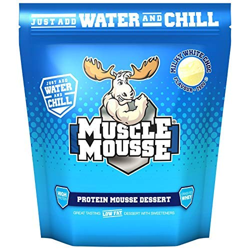 Muscle Mousse – High Protein Dessert Mix, Slow Release & Gluten Free | Perfect Sweet Treat, Easy to Make, 750g (15 servings) (Milky White Chocolate)