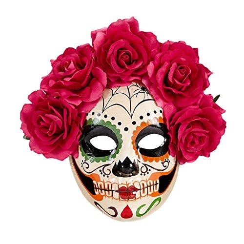 Careta esquelética La Catrina Máscara Sugar Skull con Rosas Rojas...
